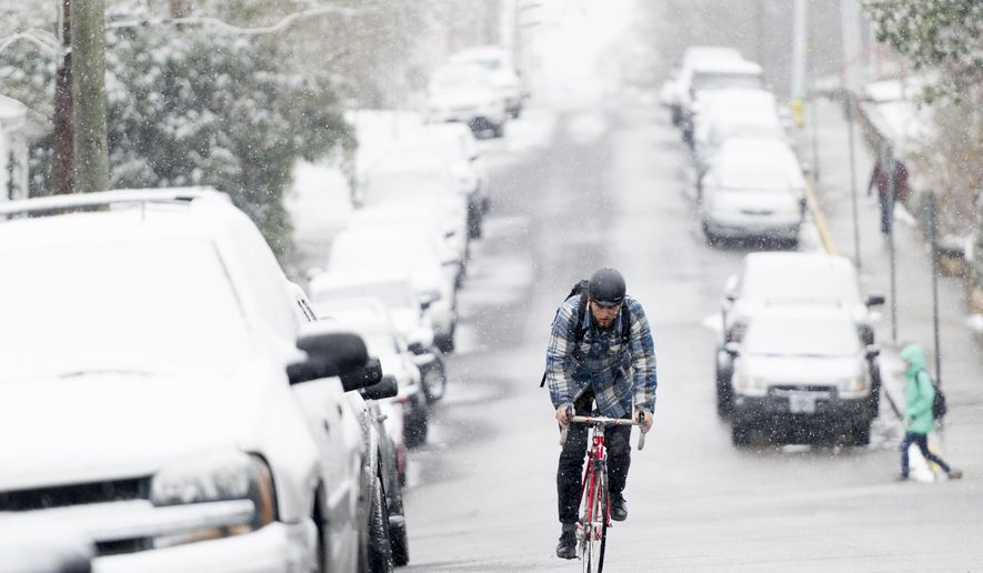 UT senior Marlow Payat, of Memphis, bikes along Laurel Ave during an afternoon snowfall in Knoxville, Tenn., on Tuesday, Jan. 16, 2018. (Calvin Mattheis/Knoxville News Sentinel via AP)