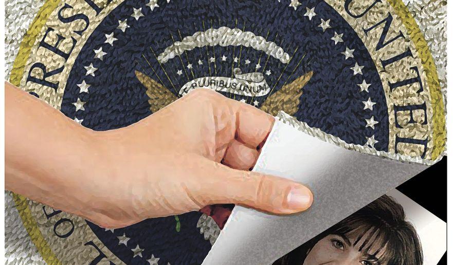 Illustration on the Clinton/Lewinsky scandal by Alexander Hunter/The Washington Times