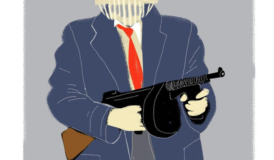 Illustration on gangster government by Linas Garsys/The Washington Times