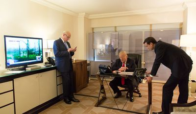 President Donald J. Trump, Chief of Staff General John Kelly, and White House Homeland Security Adviser Tom Bossert speak with FEMA Administrator Brock Long regarding Hurricane Maria's impact on Puerto Rico | September 20, 2017 (Official White House Photo by Shealah Craighead)