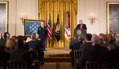 President Donald J. Trump presents the Medal of Honor to Retired U.S. Army Captain Gary M. Rose | October 23, 2017 (Official White House Photo by Shealah Craighead)