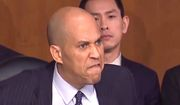 """Sen. Cory Booker harangues Homeland Security Secretary Kristjen Nielsen about President Trump's rhetoric, Jan. 16, 2018. The New Jersey Democrat told members of the Senate Judiciary Committee that he recently had """"tears of rage"""" in his eyes over remarks attributed to Mr. Trump. (Image: CBS screenshot) ** FILE **"""