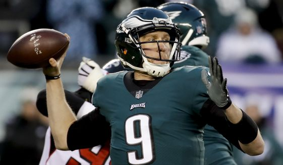 Philadelphia Eagles quarterback Nick Foles (9) during an NFL divisional playoff football game against the Atlanta Falcons, Saturday, Jan. 13, 2018, in Philadelphia. (AP Photo/Matt Rourke)