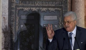 "Palestinian President Mahmoud Abbas, speaks during a conference on Jerusalem at the Al-Azhar Conference Center, in Cairo, Egypt, Wednesday, Jan. 17, 2018. Abbas blasted Trump again over Jerusalem, saying the U.S. leader's decision to recognize contested Jerusalem as Israel's capital was ""sinful."" (AP Photo/Amr Nabil)"