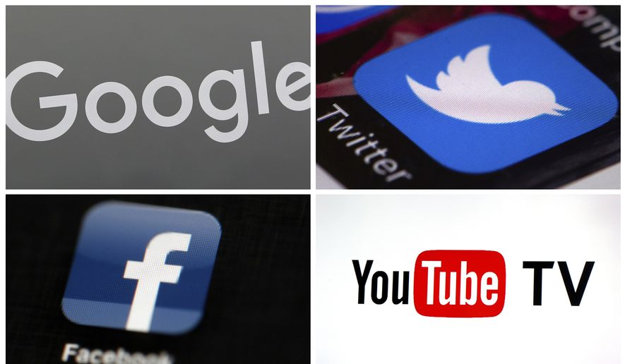 This photo combo of images shows, clockwise, from upper left: a Google sign, the Twitter app, YouTube TV logo and the Facebook app.  (AP Photo) **FILE**