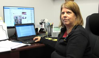 Alaska state Rep. Tammie Wilson poses in her office in the state Capitol on Wednesday, Jan. 17, 2018, in Juneau, Alaska. Wilson, a Republican from North Pole, skipped training that had been mandated for lawmakers on harassment and discrimination prevention after her calls for a third-party review of how allegations of inappropriate behavior by a former lawmaker were handled went unheeded. (AP Photo/Becky Bohrer)