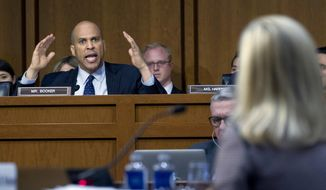 Sen. Cory Booker D-N.J., questions Homeland Security Secretary Kirstjen Nielsen during a hearing before the Senate Judiciary Committee on Capitol Hill, Tuesday, Jan. 16, 2018, in Washington. ( AP Photo/Jose Luis Magana)