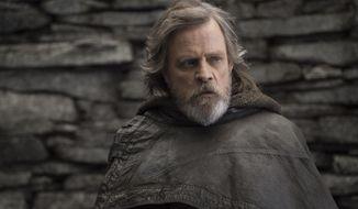 """Mark Hamill appears as Luke Skywalker in """"Star Wars: The Last Jedi."""" (John Wilson/Lucasfilm via AP) ** FILE **"""