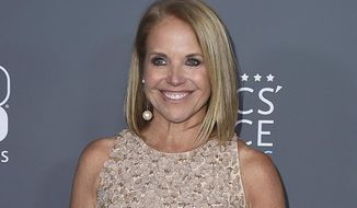 In this Jan. 11, 2018 file photo, Katie Couric poses in the press room at the 23rd annual Critics' Choice Awards in Santa Monica, Calif. NBC is bringing back Katie Couric to co-host the opening ceremony of the Winter Olympics next month. She will be co-host with Mike Tirico, who is replacing Bob Costas as prime-time host of the games. The ceremony will take place in South Korea on Feb. 9. (Photo by Jordan Strauss/Invision/AP, File)