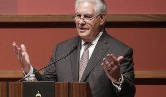 U.S. Secretary of State Rex Tillerson speaks to the Hoover Institution at Stanford University in Stanford, Calif., Wednesday, Jan. 17, 2018. Tillerson says it's crucial for the U.S. to maintain a military presence in Syria to prevent the Islamic State group's resurgence. (AP Photo/Jeff Chiu)
