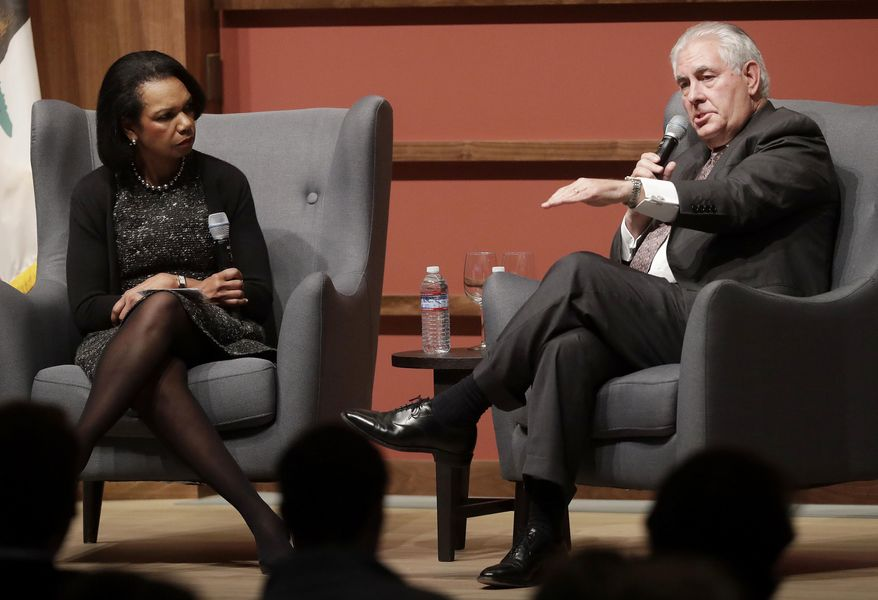 Secretary of State Rex Tillerson, right, speaks with former Secretary of State Condoleeza Rice at the Hoover Institution at Stanford University in Stanford, Calif., Wednesday, Jan. 17, 2018. (AP Photo/Jeff Chiu) ** FILE **