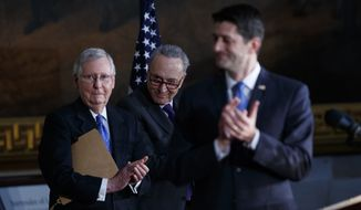 House Speaker Paul D. Ryan (right) easily ushered the spending bill through his chamber with enough Republican votes, but Senate Majority Leader Mitch McConnell (left) and Senate Minority Leader Chuck Schumer are now in a shutdown showdown. (Associated Press/File)