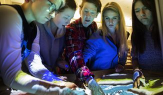 In a Thursday, Jan. 11, 2018 photo, from left to right, Emi Ryland, Torry White, science teacher Rose Crews, Taylor Bullock and Anahi Varela play in the augmented reality sandbox at the Idaho School for the Deaf and Blind in Gooding, Idaho. ISDB received a $10,000 grant from the America's Farmers Grow Rural Education program to purchase the sandbox. (Pat Sutphin/The Times-News via AP)