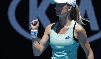 Denisa Allertova of the Czech Republic reacts after defeating Poland's Magda Linette after their third round match at the Australian Open tennis championships in Melbourne, Australia, Friday, Jan. 19, 2018. (AP Photo/Vincent Thian)