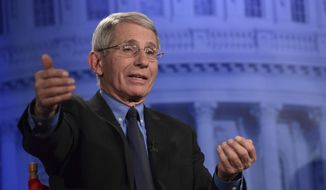 Dr. Anthony Fauci of the National Institutes of Health speaks during an AP Newsmaker interview in Washington, Thursday, Jan. 18, 2018. (AP Photo/Susan Walsh)