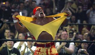 "FILE - In this April 3, 2005, file photo, Hulk Hogan fires up the crowd between matches during WrestleMania 21 in Los Angeles. Banished nearly three years ago from the wrestling organization in disgrace, the Hulkster is holding out hope for a reunion this year with the sports entertainment giant. Hogan would love to bust out the red-and-yellow colors for the ""Raw"" 25th anniversary show on Monday, Jan. 22, 2018, and join fellow wrestling greats in celebration of WWE's longest-running show. (AP Photo/Chris Carlson, File)"