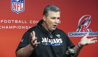 Jacksonville Jaguars head coach Doug Marrone speaks with reporters before an NFL football practice in Jacksonville, Fla., Thursday, Jan. 18, 2018. The Jaguars will play against the New England Patriots in the AFC Championship on Sunday in Foxborough, Mass.(AP Photo/Gary McCullough)