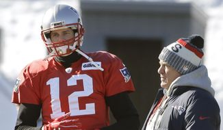 New England Patriots quarterback Tom Brady, left, stands with head coach Bill Belichick, right, during an NFL football practice, Thursday, Jan. 18, 2018, in Foxborough, Mass. The Patriots host the Jacksonville Jaguars in the AFC championship on Sunday in Foxborough. (AP Photo/Steven Senne)