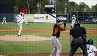 FILE - In this March 3, 2015, file photo, Detroit Tigers pitcher Kyle Lobstein, left, delivers his first pitch of the second inning to Baltimore Orioles' Matt Tulasosopo as the clock, background, counts down during a spring training exhibition baseball game in Lakeland, Fla. Major League Baseball has proposed the use of 20-second pitch clocks and limits on mound visits, a move that dares management to unilaterally impose the changes designed to speed pace of games. (AP Photo/Gene J. Puskar, File) **FILE**