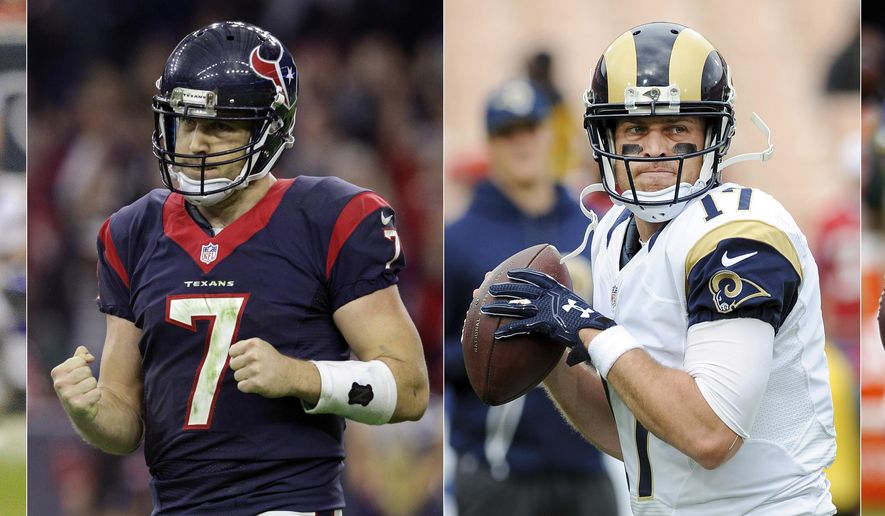 FILE - From left are file photos showing quarterback Case Keenum playing for the Houston Texans in 2012, the Houston Texans in 2014, the St. Louis Rams in 2016 and the Minnesota Vikings in 2017. The Eagles traded Nick Foles to the St. Louis Rams for Sam Bradford and then sent Bradford to the Minnesota Vikings a year later to pave the way for Carson Wentz. Foles lost his starting job with the Rams, was replaced by Case Keenum, went to Kansas City and returned to Philadelphia to back up Wentz. Keenum ended up in Minnesota backing up Bradford.(AP Photo/File)