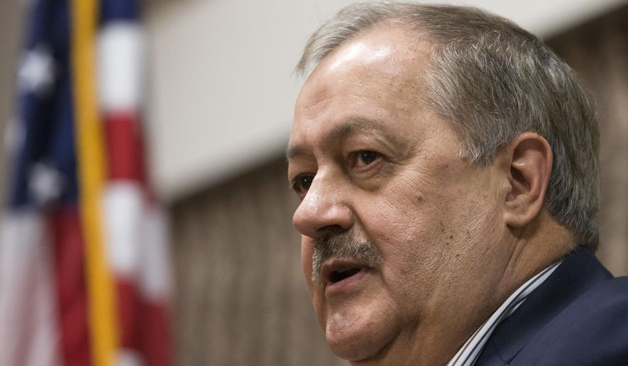 Former Massey CEO and West Virginia Republican Senatorial candidate Don Blankenship speaks during a town hall to kick off his campaign in Logan, W.Va., on Jan. 18, 2018. (Associated Press) **FILE**