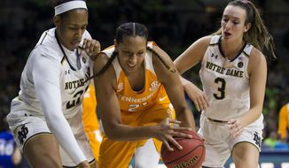 Tennessee's Mercedes Russell (21) gets pressure from Notre Dame's Kristina Nelson, left, and Marina Mabrey (3) during the first half of an NCAA college basketball game Thursday, Jan. 18, 2018, in South Bend, Ind. (AP Photo/Robert Franklin)
