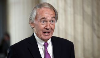 Sen. Ed Markey, D-Mass., speaks during a television interview on Capitol Hill, Friday, Jan. 19, 2018, in Washington. (AP Photo/Alex Brandon) ** FILE **