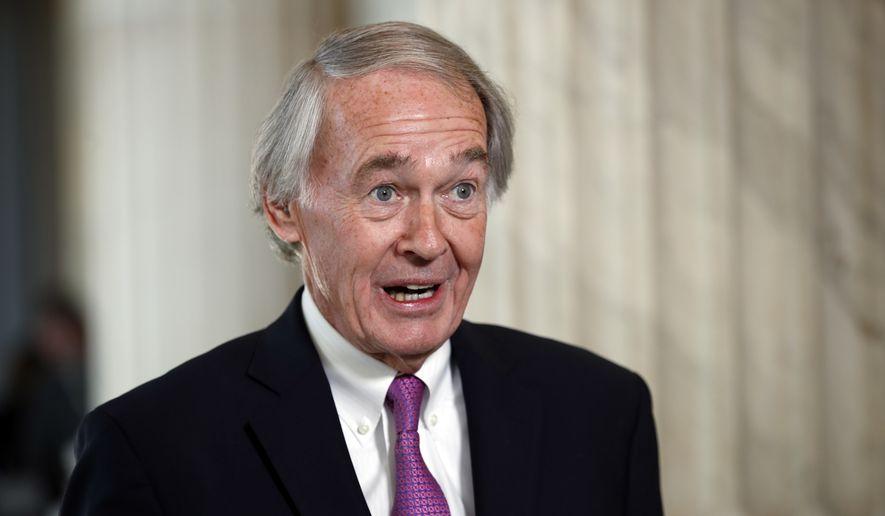 Sen. Ed Markey, D-Mass., speaks during a television interview on Capitol Hill, Friday, Jan. 19, 2018, in Washington. (AP Photo/Alex Brandon) ** FILE **