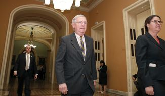 Senate Majority Leader Mitch McConnell of Ky., center, walks to his office on Capitol Hill, Friday, Jan. 19, 2018, in Washington. (AP Photo/Alex Brandon)