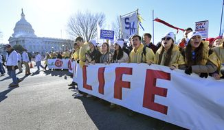 People participate in the March for Life on Capitol Hill in Washington, Friday, Jan. 19, 2018. The march -- which typically draws busloads of Catholic school students, a large contingent of evangelical Christians and poster-toting protesters of many persuasions -- falls each year around the anniversary of the 1973 Roe v. Wade decision that recognized a legal right to abortion and intends to pressure Congress and the White House to limit legal access to the procedure. (AP Photo/Susan Walsh)