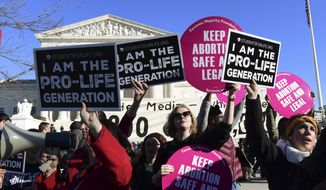 Protesters on both sides of the abortion issue gather outside the Supreme Court in Washington, Friday, Jan. 19, 2018, during the March for Life. (AP Photo/Susan Walsh) ** FILE **