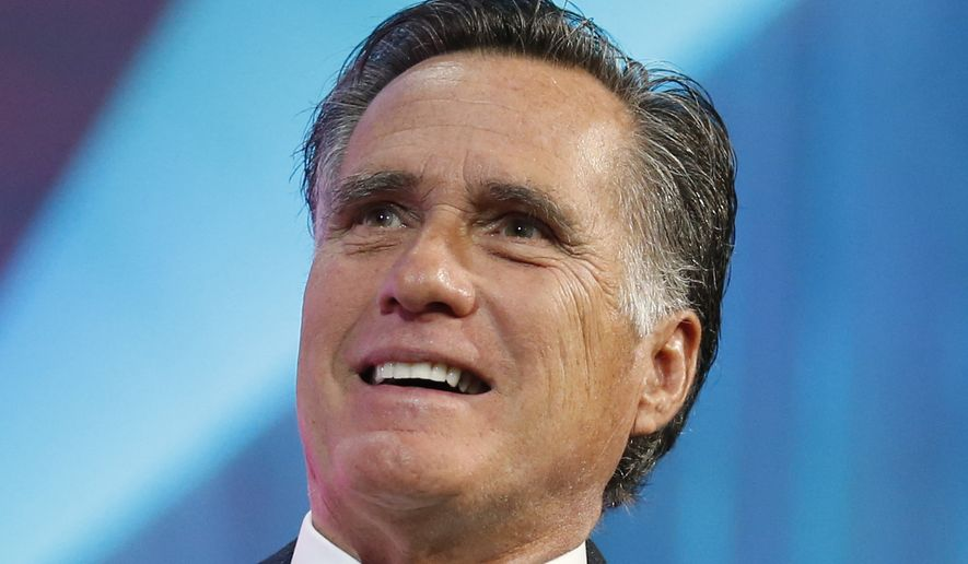 Former Republican presidential candidate Mitt Romney speaks about the tech sector during an industry conference dubbed Silicon Slopes, the nickname for Utah's burgeoning cluster of tech companies, Friday, Jan. 19, 2018, in Salt Lake City. Those close to the 70-year-old say he's interested in running for the Utah Senate seat being vacated by Republican Orrin Hatch and expect an announcement soon, though Romney has demurred so far. (AP Photo/Rick Bowmer)