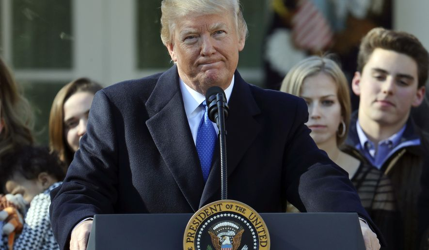 President Donald Trump pauses during his address to the March of Life participants from the Rose Garden of the White House in Washington, Friday, Jan. 19, 2018. (AP Photo/Pablo Martinez Monsivais)
