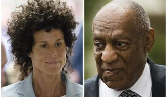 FILE - This combination of file photos shows Andrea Constand, left, walking to the courtroom during Bill Cosby's sexual assault trial June 6, 2017, at the Montgomery County Courthouse in Norristown, Pa.; and Bill Cosby, right, arriving for his sexual assault trial June 16, 2017, at the Montgomery County Courthouse in Norristown, Pa. Prosecutors at Cosby's spring 2018 retrial on charges he drugged and sexually assaulted Constand at his home near Philadelphia want jurors to hear from 19 other accusers. (AP Photo/Matt Rourke, File)