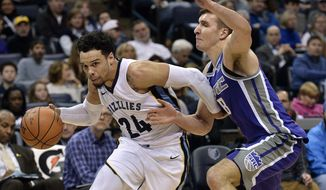 Memphis Grizzlies forward Dillon Brooks (24) drives against Sacramento Kings guard Bogdan Bogdanovic (8) during the second half of an NBA basketball game Friday, Jan. 19, 2018, in Memphis, Tenn. (AP Photo/Brandon Dill)