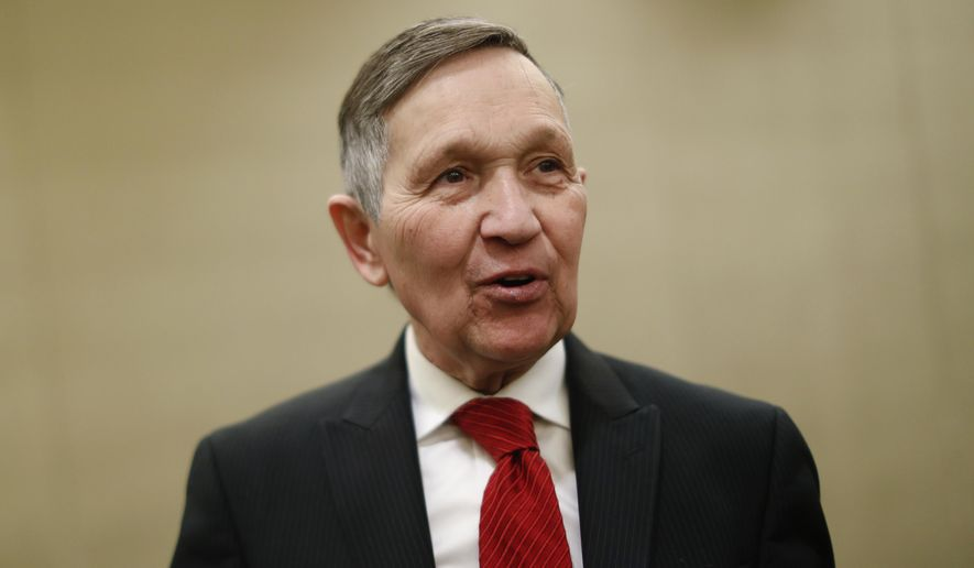 Former U.S. Rep. Dennis Kucinich speaks at a news conference after announcing his run for Ohio governor the previous day, Thursday, Jan. 18, 2018, in Cincinnati. Kucinich said he would muster state resources to fight poverty and violence, boost arts and education and expand economic opportunity. (AP Photo/John Minchillo)
