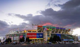 FILE - In this Nov. 20, 2016 file photo, the sun sets behind FedEx Field before an NFL football game between the Washington Redskins and the Green Bay Packers in Landover, Md. Three politicians in Maryland, Virginia and the District of Columbia are teaming up across partisan lines to try and prevent their governments from waging a bidding war with public money to build a new stadium for the Washington Redskins.  The liberal Democrat in Maryland, conservative Republican in Virginia and left-leaning independent District of Columbia Council member have introduced legislation to set up an interstate compact barring any public spending on incentives for a new stadium. The current lease at FedEx Field in suburban Maryland ends in 2027 and the team is exploring new potential locations.   (AP Photo/J. David Ake) ** FILE **