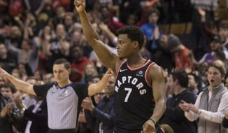 Toronto Raptors guard Kyle Lowry celebrates at the final buzzer as the Raptors defeated the San Antonio Spurs 86-83 during an NBA basketball game Friday, Jan. 19, 2018, in Toronto. (Chris Young/The Canadian Press via AP)