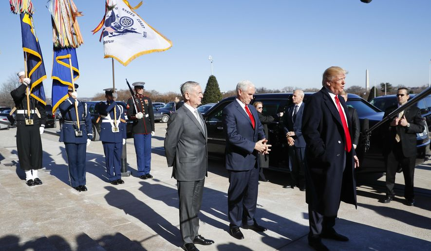 The Case For Impeachment Part 4 >> President Donald Trump, joined by Defense Secretary Jim Mattis, left, and Vice President Mike ...