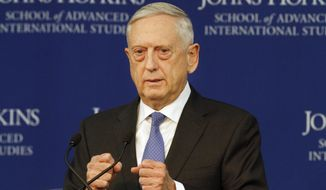 Defense Secretary James Mattis speaks about the National Defense Review, Friday, Jan. 19, 2018, in Washington. China's expanding military and an increasingly aggressive Russia are among the U.S. military's top national security priorities, the Pentagon said Friday. (AP Photo/Jacquelyn Martin) ** FILE **