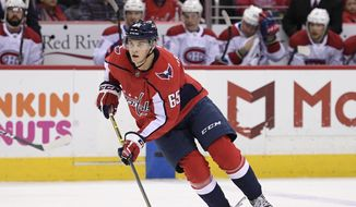 Washington Capitals left wing Andre Burakovsky (65) skates with the puck during the first period of an NHL hockey game against the Montreal Canadiens, Friday, Jan. 19, 2018, in Washington. (AP Photo/Nick Wass) **FILE**