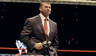 "FILE - In this Oct. 30, 2010 file photo, WWE chairman and CEO Vince McMahon speaks to an audience during a WWE fan appreciation event in Hartford, Conn.   WWE's 'Raw' set out to be a special kind of wrestling show from its birth on Jan. 11, 1993. ""Welcome everyone, to Monday Night Raw!"" McMahon bellowed. ""We are live from New York City!"" The WWE will celebrate the 25th anniversary of ""Raw"" on Jan. 22, 2018 at its original home of the Manhattan Center with some of the biggest stars in the company's history stopping by for a fight. (AP Photo/Jessica Hill) ** FILE **"