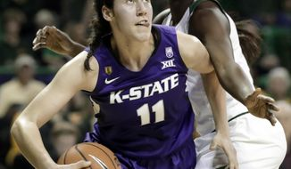 Kansas State forward Peyton Williams (11) works past Baylor forward Dekeiya Cohen during the first half of an NCAA college basketball game Saturday, Jan. 20, 2018, in Waco, Texas. (AP Photo/Tony Gutierrez)