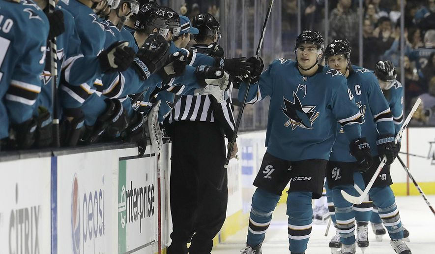 San Jose Sharks right wing Timo Meier, front right, from Switzerland, celebrates with teammates after scoring a goal against the Pittsburgh Penguins during the first period of an NHL hockey game in San Jose, Calif., Saturday, Jan. 20, 2018. (AP Photo/Jeff Chiu)