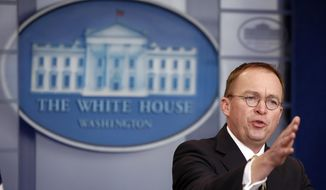 Director of the Office of Management and Budget Mick Mulvaney speaks during a press briefing at the White House, Saturday, Jan. 20, 2018, in Washington. (AP Photo/Alex Brandon)