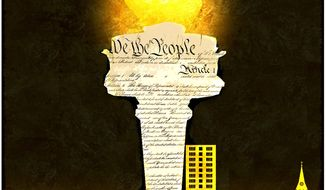 Illustration on the Constitution as the basis for renewed protection of religious rights by Alexander Hunter/The Washington Times