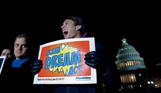 Demonstrators rallied on Capitol Hill on Friday, putting pressure on Democratic lawmakers who had promised action to prevent young illegal immigrants from being deported. (Associated Press)