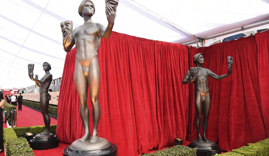 SAG statues appear on the red carpet at the 24th annual Screen Actors Guild Awards at the Shrine Auditorium & Expo Hall on Sunday, Jan. 21, 2018, in Los Angeles. (Photo by Richard Shotwell/Invision/AP)