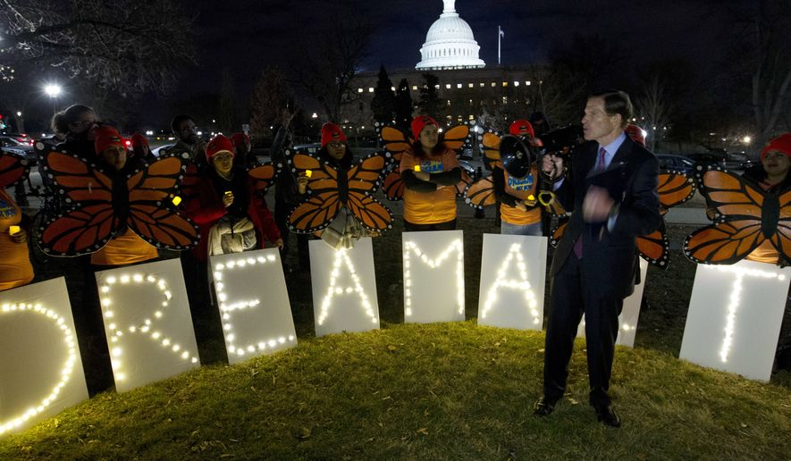 "Sen. Richard Blumenthal D-Conn., speaks during a rally in support of Deferred Action for Childhood Arrivals (DACA) outside of the Capitol, Sunday, Jan. 21, 2018, in Washington. Democrats have been seeking a deal to protect the ""Dreamers,"" who have been shielded against deportation by DACA, which President Donald Trump halted last year. (AP Photo/Jose Luis Magana)"