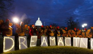 Demonstrators rally in support of Deferred Action for Childhood Arrivals (DACA) outside the Capitol, Sunday, Jan. 21, 2018, in Washington, on the second day of the federal shutdown. (AP Photo/Jose Luis Magana) ** FILE **